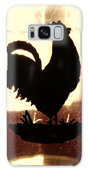Antique Glass Chicken Silhouette Galaxy Case by Kathy Barney