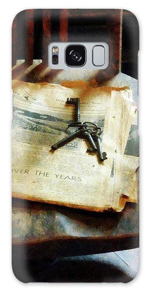 Antique Keys On Newspaper Galaxy Case by Susan Savad