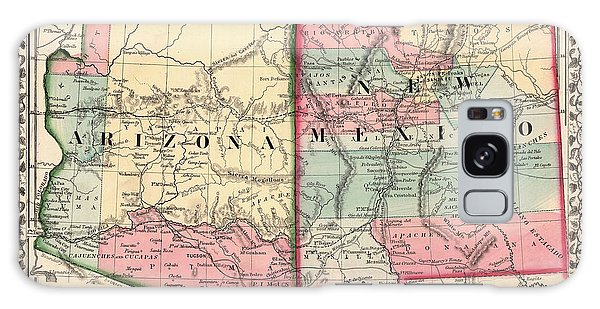 Mexican Galaxy Case - Antique Map Of Arizona And New Mexico By Samuel Augustus Mitchell - 1867 by Blue Monocle