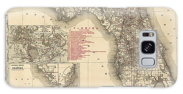 Antique Map Of Florida By Rand Mcnally And Company - 1900 Galaxy Case by Blue Monocle