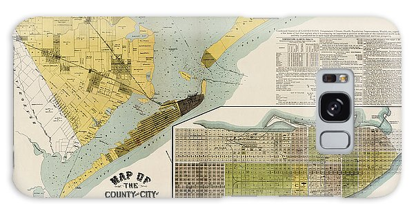 Antique Map Of Galveston Texas By The Island City Abstract And Loan Co. - 1891 Galaxy Case by Blue Monocle