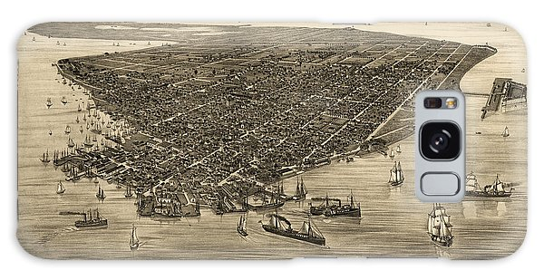 Antique Map Of Key West Florida By J. J. Stoner - 1884 Galaxy Case by Blue Monocle