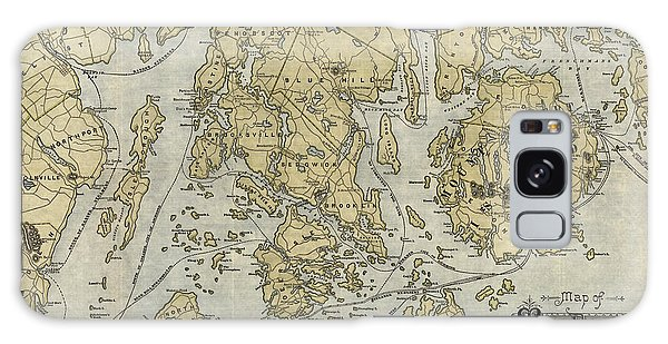 Trains Galaxy Case - Antique Map Of Mount Desert Island And The Coast Of Maine - Circa 1900 by Blue Monocle