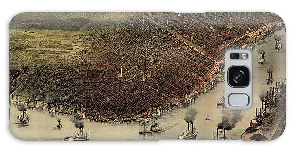 Antique Map Of New Orleans By Currier And Ives - Circa 1885 Galaxy Case by Blue Monocle