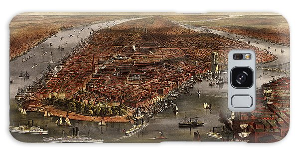 Antique Map Of New York City By Currier And Ives - 1870 Galaxy Case by Blue Monocle