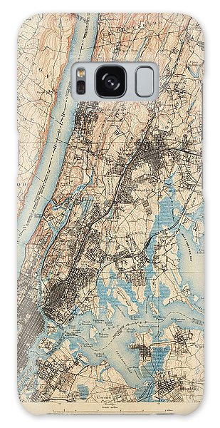 Harlem Galaxy S8 Case - Antique Map Of New York City - Usgs Topographic Map - 1900 by Blue Monocle