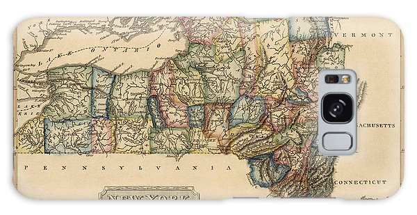 New York City Galaxy S8 Case - Antique Map Of New York State By Fielding Lucas - Circa 1817 by Blue Monocle