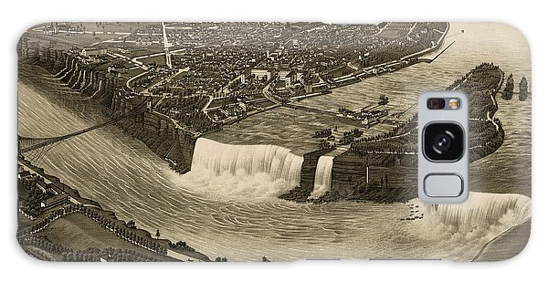 Waterfall Galaxy Case - Antique Map Of Niagara Falls New York By H. Wellge - 1882 by Blue Monocle