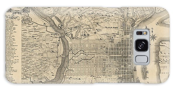 Antique Map Of Philadelphia By P. C. Varte - 1875 Galaxy Case by Blue Monocle