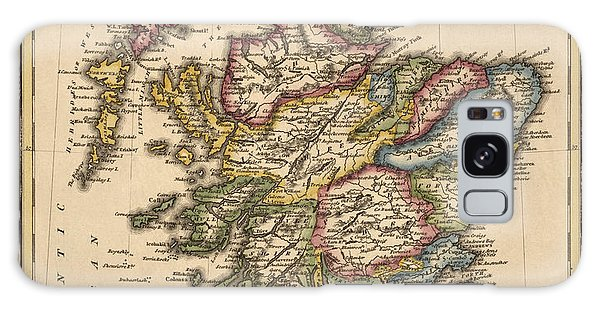 Antique Map Of Scotland By Fielding Lucas - Circa 1817 Galaxy Case by Blue Monocle