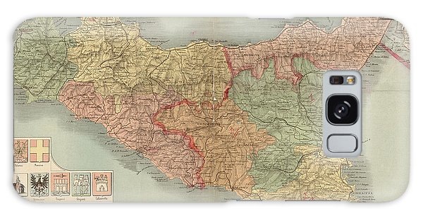 Antique Map Of Sicily Italy By Antonio Vallardi - 1900 Galaxy Case by Blue Monocle