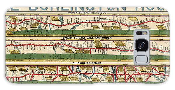 Trains Galaxy Case - Antique Map Of The Burlington Route By H. R. Page And Co. - Circa 1879 by Blue Monocle