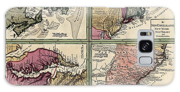 Bay Galaxy Case - Antique Map Of Colonial America By Homann Erben - Circa 1760 by Blue Monocle