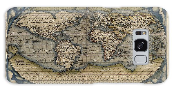 Antique Map Of The World By Abraham Ortelius - 1570 Galaxy Case by Blue Monocle