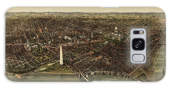 Antique Map Of Washington Dc By Currier And Ives - Circa 1892 Galaxy Case by Blue Monocle