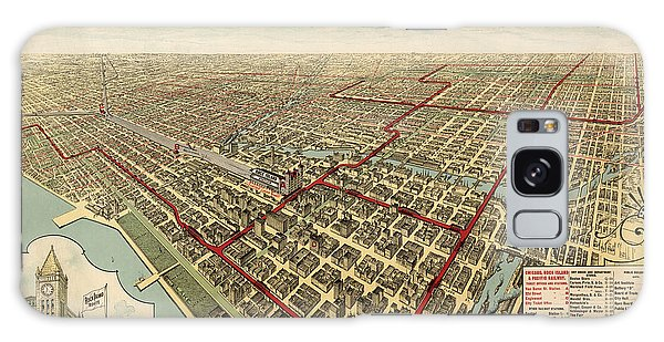 Vintage Galaxy Case - Antique Railroad Map Of Chicago - 1897 by Blue Monocle