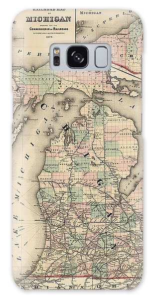 Great Lakes Galaxy Case - Antique Railroad Map Of Michigan By Colton And Co. - 1876 by Blue Monocle