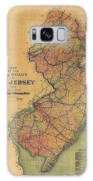 Trains Galaxy Case - Antique Railroad Map Of New Jersey By Van Cleef And Betts - 1887 by Blue Monocle