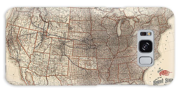 Antique Railroad Map Of The United States - Union Pacific - 1892 Galaxy Case by Blue Monocle