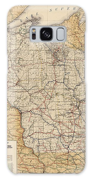 Antique Railroad Map Of Wisconsin - 1900 Galaxy Case