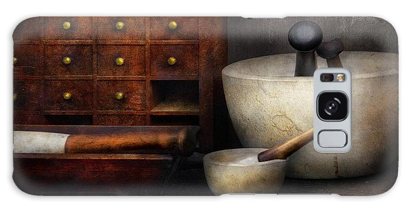 Apothecary - Pestle And Drawers Galaxy Case by Mike Savad