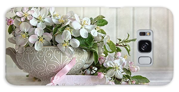 Galaxy Case featuring the photograph Apple Blossom Flowers In Vase With Gift Card by Sandra Cunningham