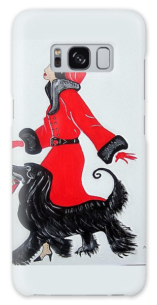 Art Deco  Girl With Red  Coat Galaxy Case