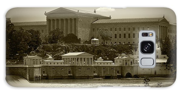Art Museum And Fairmount Waterworks - Bw Galaxy Case