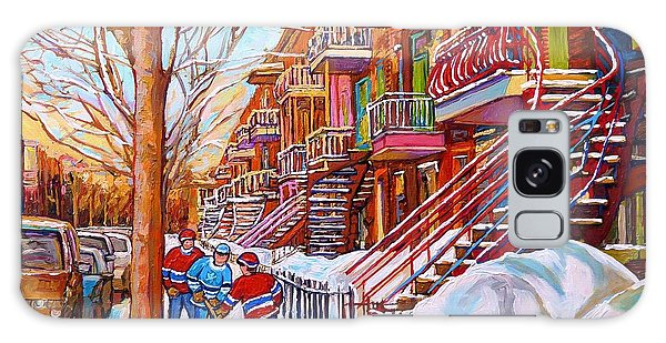 Art Of Montreal Staircases In Winter Street Hockey Game City Streetscenes By Carole Spandau Galaxy Case