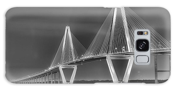 Arthur Ravenel Jr. Bridge In Black And White Galaxy Case by Adam Jewell