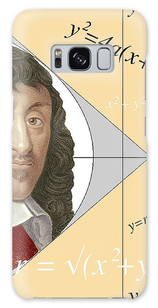 Philosopher Galaxy Case - Artwork Of Rene Descartes With Equations And Lines by Sheila Terry/science Photo Library