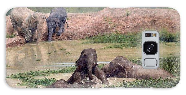Asian Elephants - In Support Of Boon Lott's Elephant Sanctuary Galaxy Case by Rachel Stribbling
