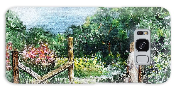 Galaxy Case featuring the painting At The Gate Summer Landscape by Irina Sztukowski
