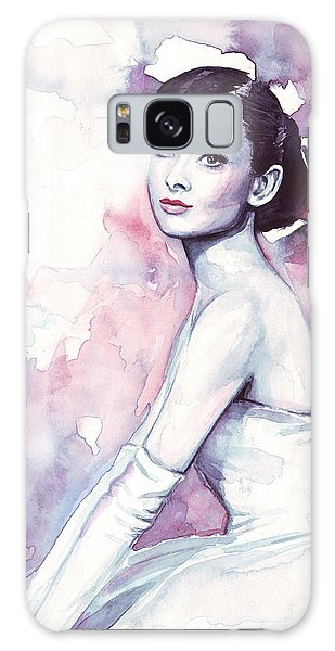 Audrey Hepburn Purple Watercolor Portrait Galaxy Case
