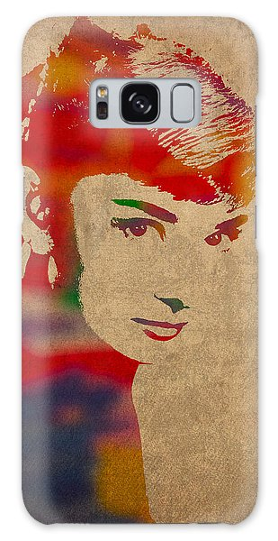 Galaxy Case - Audrey Hepburn Watercolor Portrait On Worn Distressed Canvas by Design Turnpike
