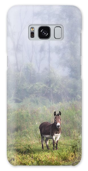 Galaxy Case featuring the photograph August Morning - Donkey In The Field. by Gary Heller
