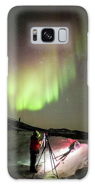 Boreal Forest Galaxy Case - Aurora Borealis And Photographer by Chris Madeley
