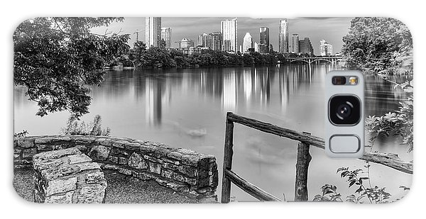 Austin Texas Skyline Lou Neff Point In Black And White Galaxy Case