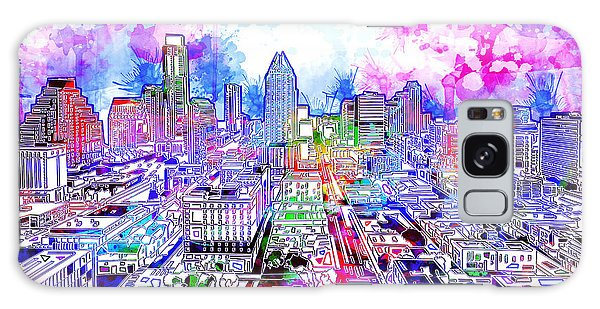 Austin Texas Watercolor Panorama Galaxy Case