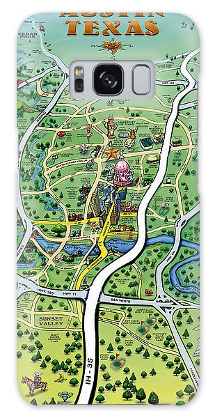 Austin Tx Cartoon Map Galaxy Case