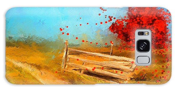Autumn Farm- Autumn Impressionism Oil Palette Knife Painting Galaxy Case by Lourry Legarde