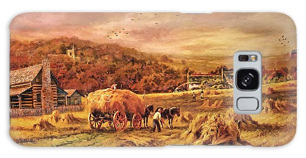 Autumn Folk Art - Haying Time Galaxy Case