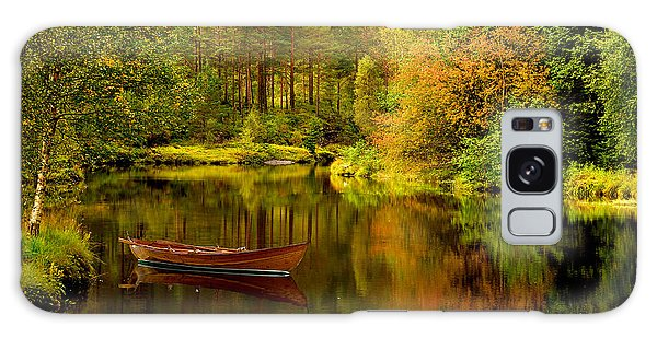 Autumn Lake With Boat Galaxy Case
