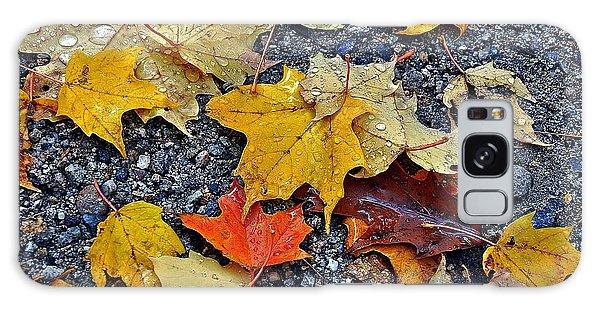 Autumn Leaves In Rain Galaxy Case