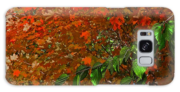 Autumn Leaves In Red And Green Galaxy Case