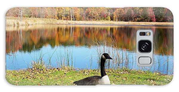 Autumn Pond Goose Galaxy Case