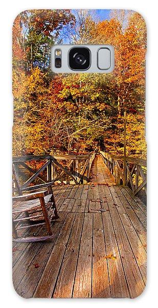Autumn Rocking On Wooden Bridge Landscape Print Galaxy Case by Jerry Cowart