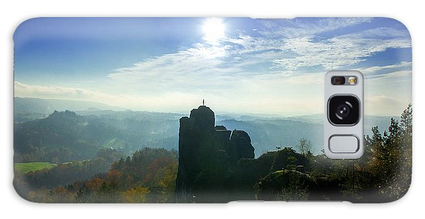 Autumn Sunrise In The Elbe Sandstone Mountains Galaxy Case