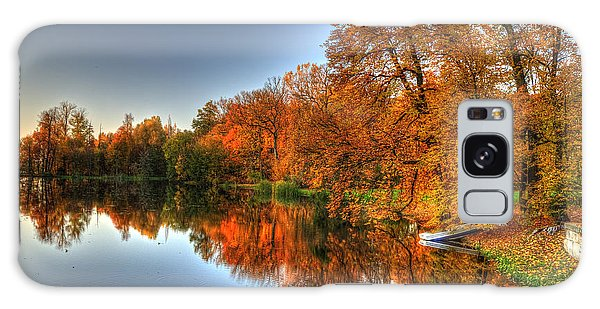Autumn Trees Over A Pond In Arkadia Park In Poland Galaxy Case