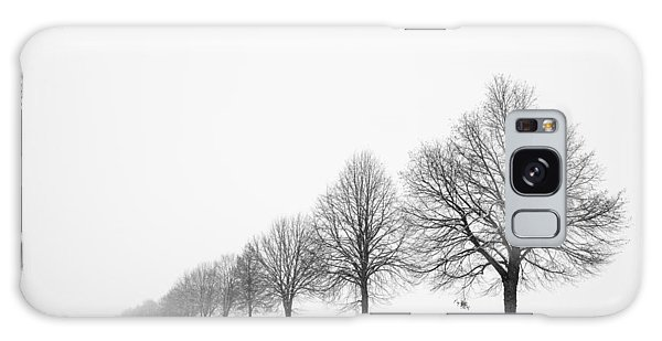Avenue With Row Of Trees In Winter Galaxy Case